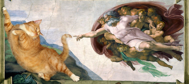 Michelangelo   Creation of cAt dam cat w - Народное искусство