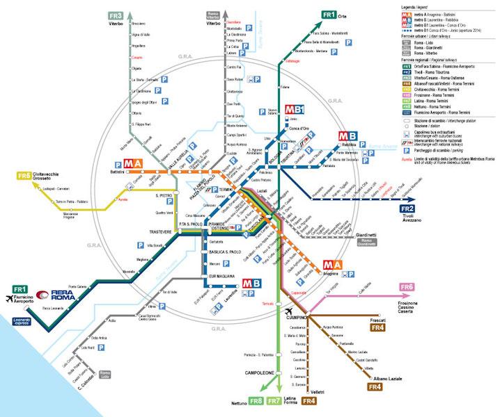mappa metro treno - Путеводитель по римскому транспорту