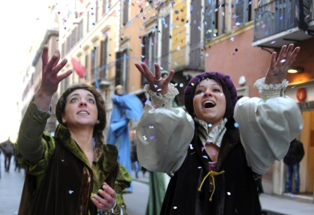 Artists perform during a carnival parade