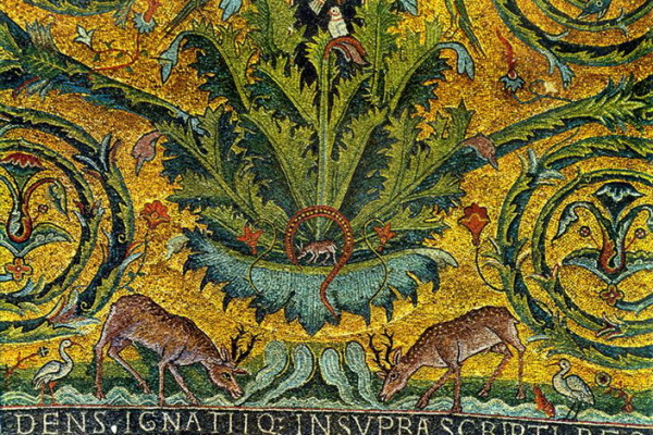 san clemente partic mosaico absidale cervi e acanto fiorito