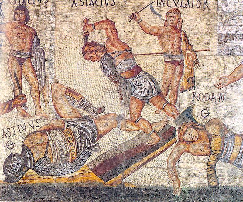 Гладиаторские бои на мозаике из галереи Боргезе